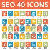 40 wektorowe ikony - optymalizacja seo (search engine) — Wektor stockowy