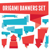 Origami Banners Set — Stock Vector