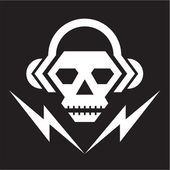 Skull Music Logo Sign 2 — Stock Vector