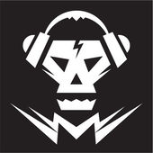 Skull Music Logo Sign — Stock Vector