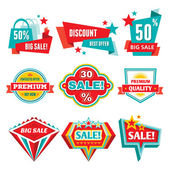 Sale & Discount Badges - Abstract Vector Signs — Vetor de Stock