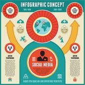 Infographic концепция социальных средств массовой информации & бизнес-презентации — Cтоковый вектор