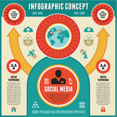 Infographic Concept of Social Media & Business Presentation — Stok Vektör