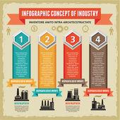 Infographik konzept mit symbolen der fabriken. — Stockvektor