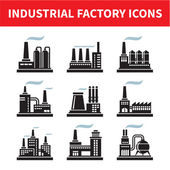 Industrielle fabrik icons - vektor-set — Stockvektor