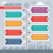 Infographic Vector Concept - Timeline & Steps — Stock Vector