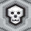 Skull Seamless Geometric Pattern in grayscale colors — Stock Vector