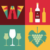 Illustration of Wine in Flat Design Style - Vector Logo of Letter W — Stock Vector