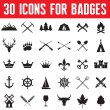 30 Icons for Badges and Different Design Works — Stock Vector
