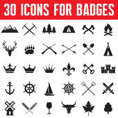 30 Icons for Badges and Different Design Works — Stockvector