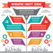 Infographic Concept for Presentation - Business Vector Scheme with Factory Signs — Stock Vector