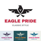 Eagle Pride - Logo in Classic Graphic Style for Business Company - vector logo design template — Stock Vector