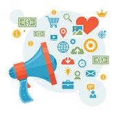 Commercialisation & publicité - illustration de notion de haut-parleur — Vecteur