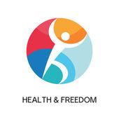 Знак логотип человек спортивный клуб, центр здоровья, музыкальный фестиваль и т.д.. — Cтоковый вектор