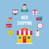 Infographic Business Concept - Web Online Shopping — Stockvector