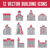 12 Vector Building Icons - creative illustration for presentation, booklet, web site etc. — Stock Vector