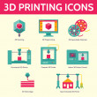 3D Printing Vector Icons in Flat Design Style — Stock Vector #46662891
