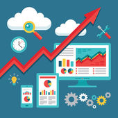 Programmazione seo (search engine optimization) - up-andamento degli affari — Vettoriale Stock