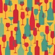 Background with Wine Bottles and Glasses - Seamless Pattern — Stock Vector