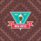 Irish Coffee - Original Vector Badge and Background for showcase, menu, booklet etc. — Stock Vector