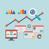 Begreppet vektor illustration i platt designerstil web analytics information — Stockvektor