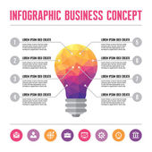Infographic Business Concept - Creative Idea Illustration - vector lamp in geometric polygonal style — Stockvector