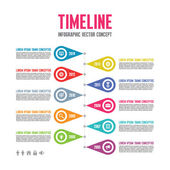 Infographic Vector Concept in Flat Design Style - Timeline Template — Stock Vector