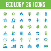 Ecology Vector Icons Set - Creative Illustration on Energy Theme — Stock Vector