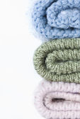 Stack of knitted hats — Stock Photo