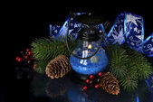 Christmas composition in blue — Stock Photo