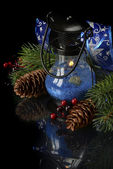 Christmas composition in blue — Stockfoto