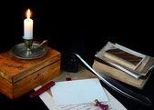 натюрморт с винтаж пишущие инструменты — Стоковое фото