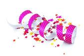 Confetti and ribbon — Stock Photo