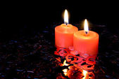 Red burning candles — Stock Photo