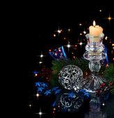 рождественская композиция в голубом — Стоковое фото