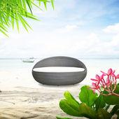 Rattan seat on the beach — Foto Stock
