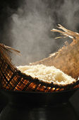 Sticky rice in wooden steamer — Foto Stock