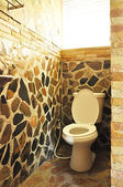 Stone wall toilet — Stock Photo