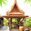 Ancient Thai style wooden gazebo — Stock Photo