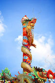Chinese style Dragons on the red post — Stock Photo