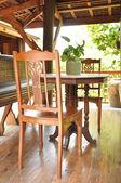Ancient wooden table set inside the gazebo — ストック写真