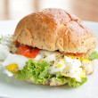 Fried egg burger with vegetables — Stock Photo