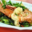 Thai food - stir fried prawns with chilies — Stock Photo