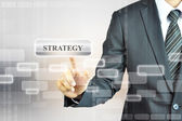 Businessman touching STRATEGY sign — Stock Photo