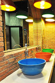 Colorful public toilet basins — Stock Photo