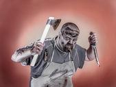 Butcher zombie — Stock Photo