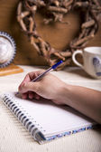 Alguém escrevendo num caderno — Fotografia Stock