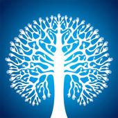 Hand tree stock in blue background — Stock Vector