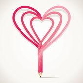 Heart shape pencil — Stock Vector