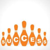 Bowling pins make success word — Stock Vector